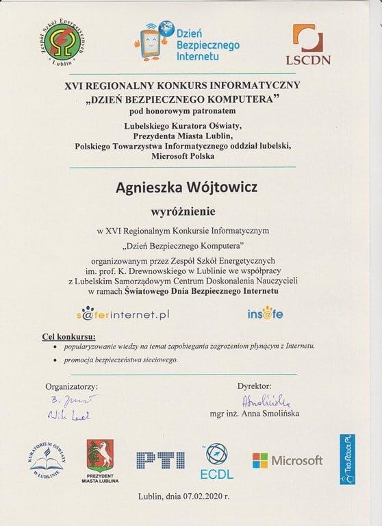 Agnieszka Wójtowicz wyróżniona w konkursie informatycznym