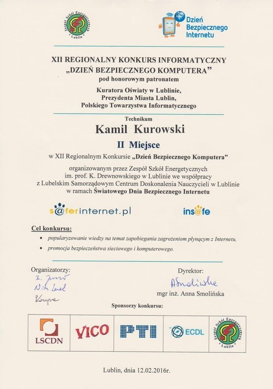 Sukces Kamila Kurowskiego w konkursie informatycznym