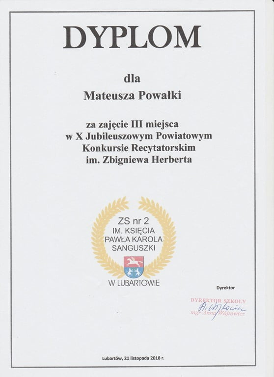 Uczeń RCEZ nagrodzony w X Konkursie Recytatorskim im. Zbigniewa Herberta