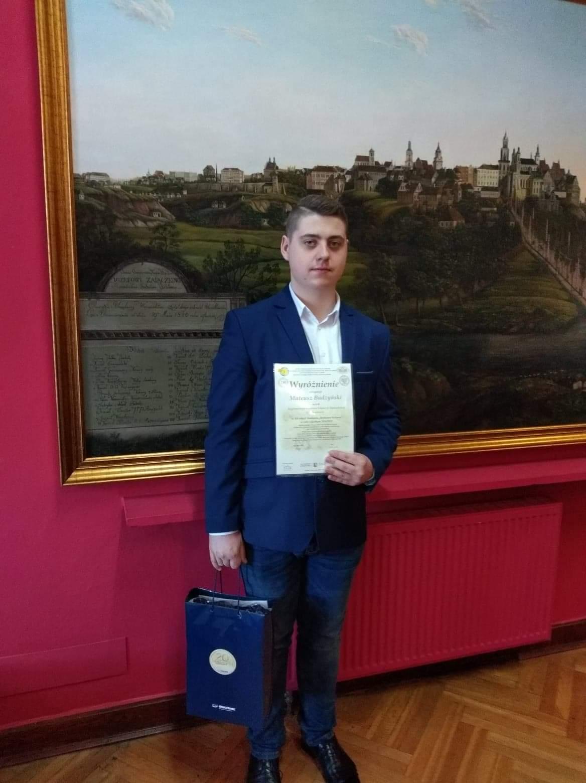 Uczeń RCEZ wyróżniony w wojewódzkim konkursie historycznym