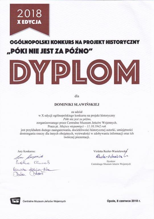 Znakomity wynik 2TEk w ogólnopolskim konkursie na projekt historyczny