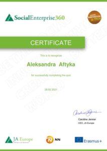 Certificate - Aleksandra Aftyka