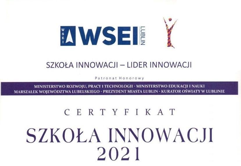 Szkoła Innowacji 2021 Certyfikat Regionalne Centrum Edukacji Zawodowej w Lubartowie