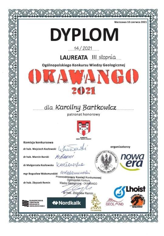 Karolina Bartkowicz - Laureatka III stopnia Ogólnopolskiego Konkursu Wiedzy Geologicznej OKAWANGO 2021