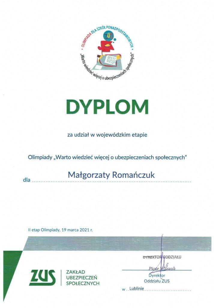 Olimpiada Warto wiedzieć więcej o ubezpieczeniach społecznych Małgorzata Romańczuk