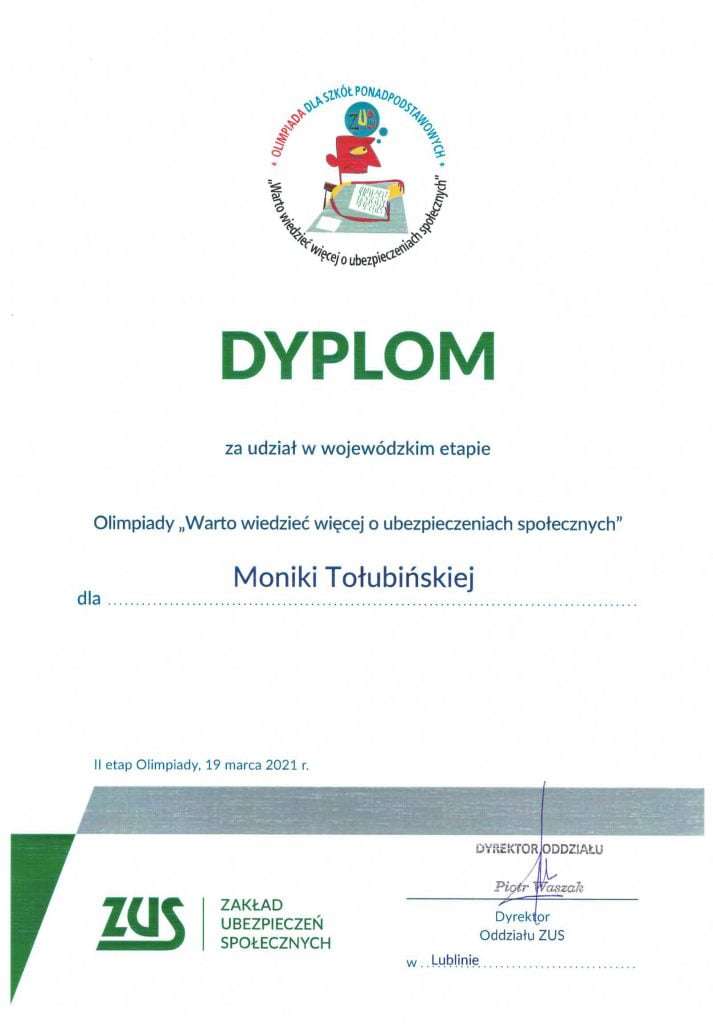 Olimpiada Warto wiedzieć więcej o ubezpieczeniach społecznych Monika Tołubińska