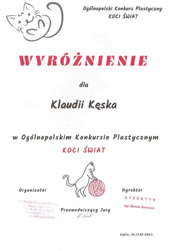 Klaudia Kęska wyróżnienie w Ogólnopolskim Konkursie Plastycznym KOCI ŚWIAT