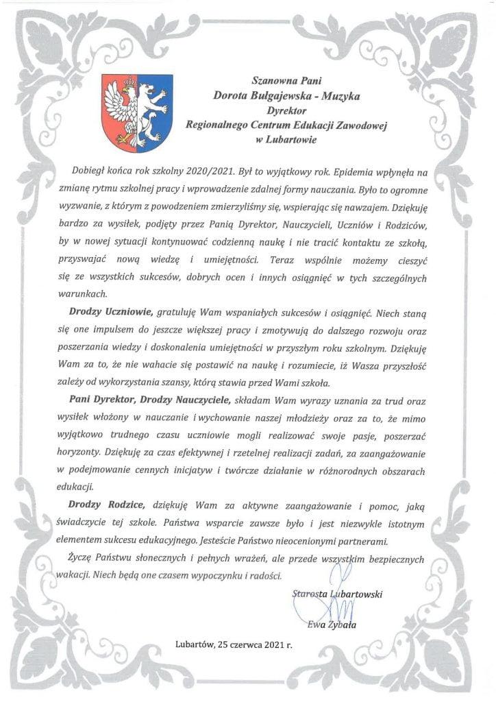 list Starosty Lubartowskiego Pani Ewy Zybały na zakończenie roku szkolnego 2020/2021