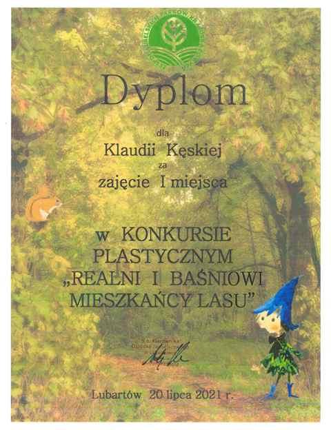 """I miejsce w konkursie plastycznym """"Realni i baśniowi mieszkańcy lasu"""" 2021 - Klaudia Kęska"""
