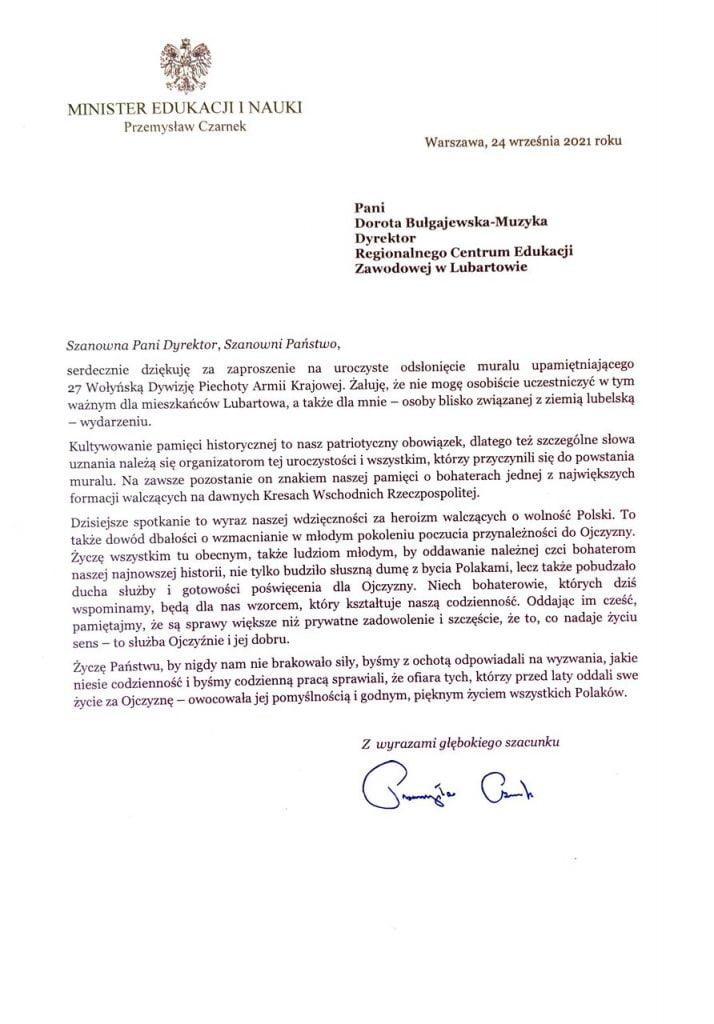 Uroczystość odsłonięcia Muralu list Ministra Edukacji i Nauki Przemysława Czarnka