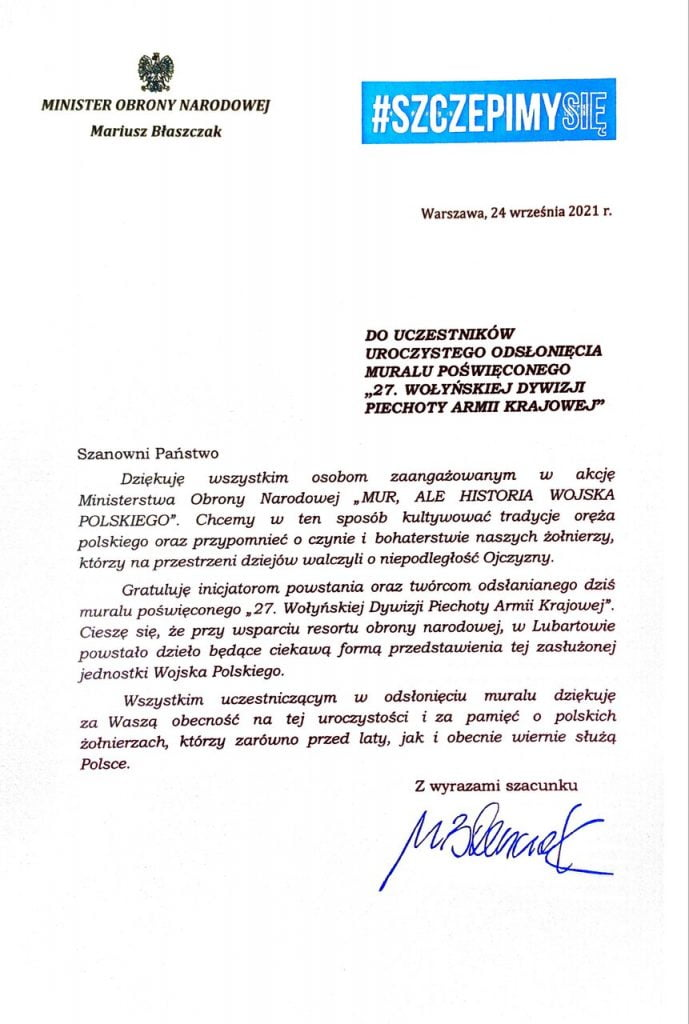 Uroczystość odsłonięcia Muralu list Ministra Obrony Narodowej Mariusz Błaszczak